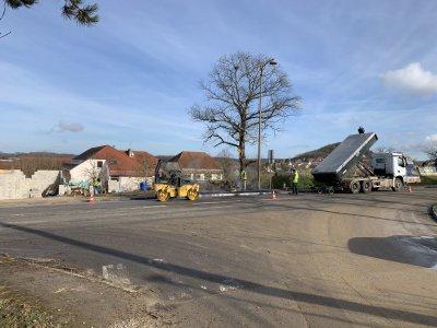 Les travaux d'aménagement à Pouilley-les-Vignes